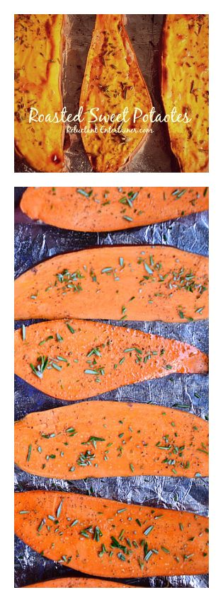 Roasted Sweet Potatoes with Rosemary #sidedish #sweetpotatoes #reluctantentertainer #recipe