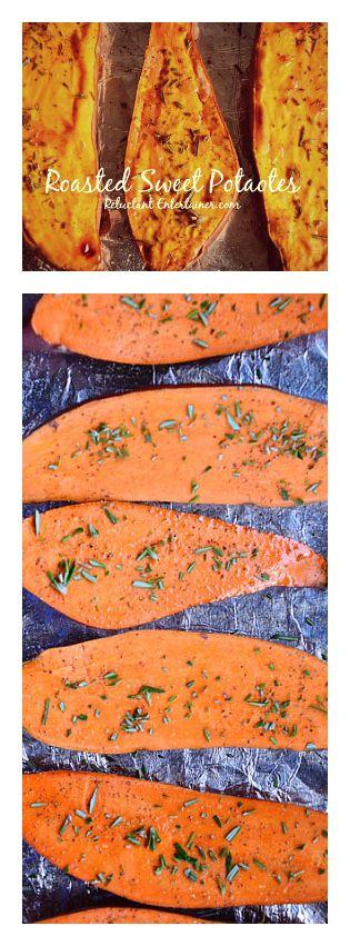 Roasted Sweet Potatoes with Rosemary #sidedish #sweetpotatoes #reluctantentertainer #recipe