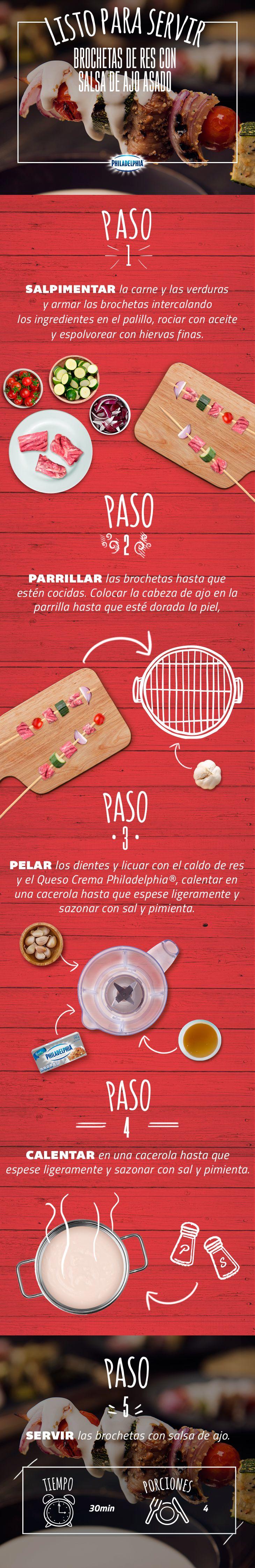Sorprende a todos en la mesa con estas deliciosas Brochetas. ¡Se chuparán los dedos!  #quesophiladelphia  #quesocrema #philadelphia #brochetas #carne #res #ajo #asado
