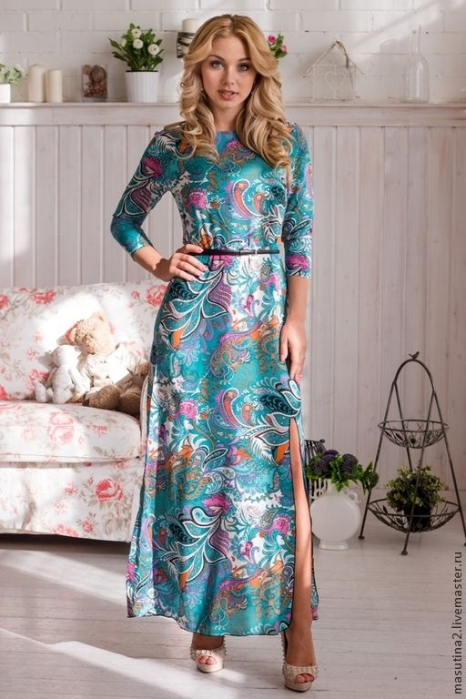 """Платье """"Лебедушка"""" - тёмно-бирюзовый,пейсли,платье в пол,платье на заказ"""