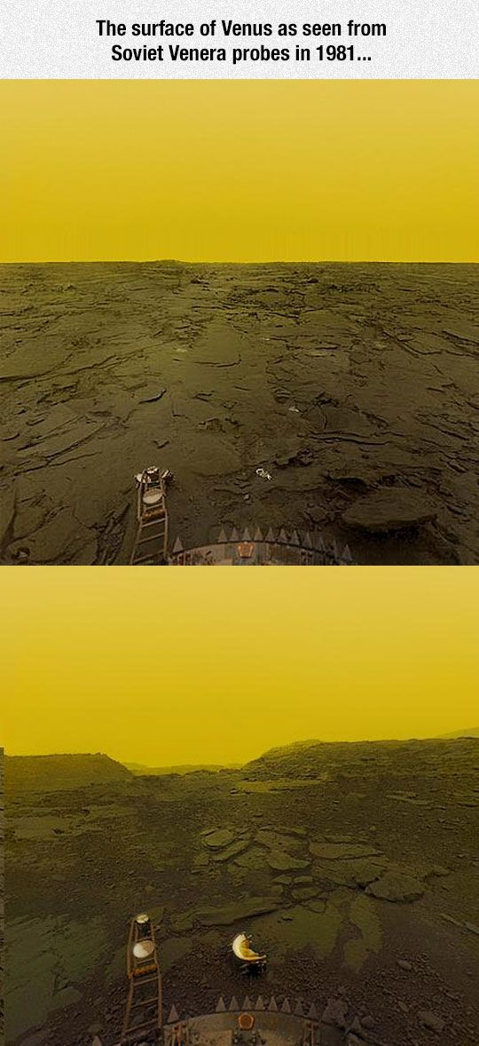 Surface Of Venus- Oh that strange toxic yellow sky! The surface conditions on Venus are extreme, therefore the probes only survived on the surface for a duration of 23 minutes (initial probes); and up to about two hours (final probes).