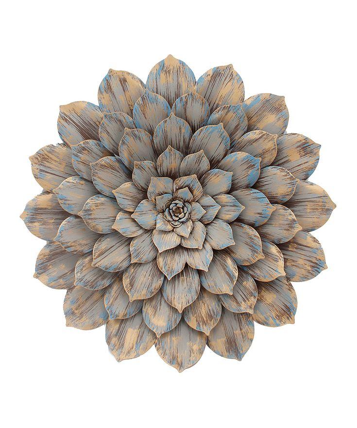 Gray Metal Flower Wall Art