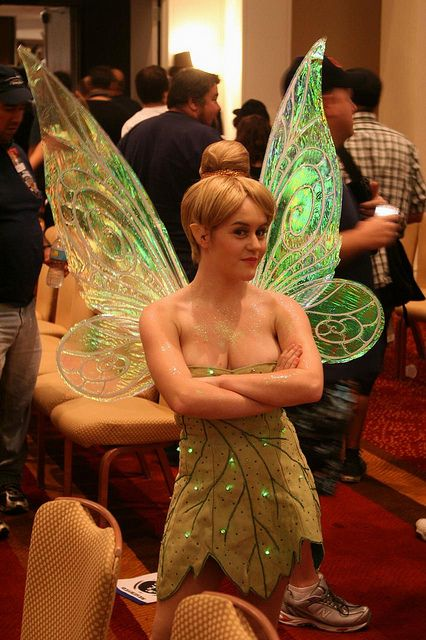 Cute Cosplay Tinkerbell costume. LED fairy lights on her dress + re-create the look yourself with these lil' DIY lights; clip 'em, glue 'em or sew 'em: http://www.flashingblinkylights.com/blinkiesroundleds-c-114_61_1.html