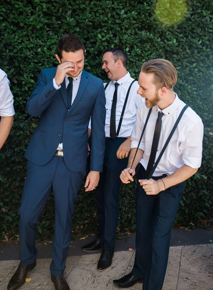 Groomsmen laughing at Caversham House  Timika Prygoda Woodnote Photography