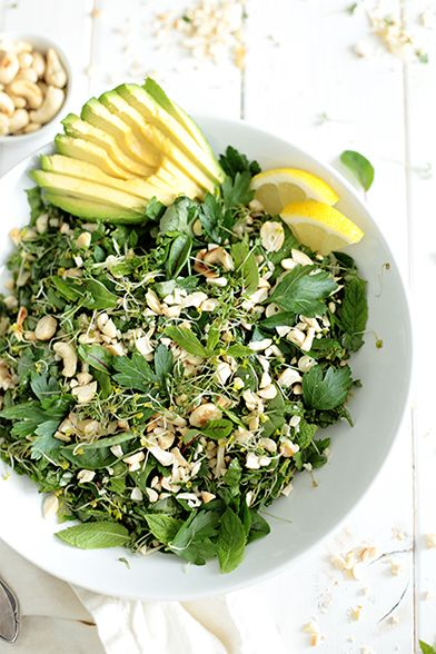 Green herb salad with avocado.