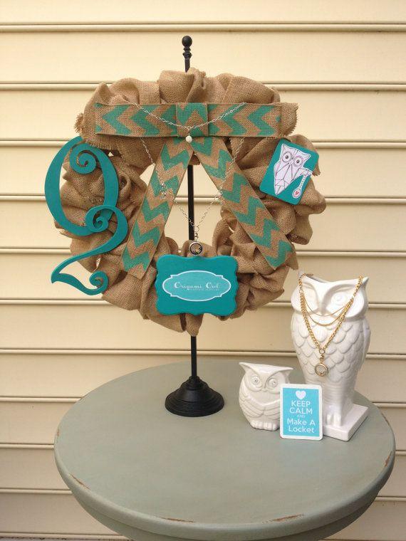 EXCLUSIVE  Jilleysue's Origami Owl Team Wreath by BurlapandChevron, $125.00