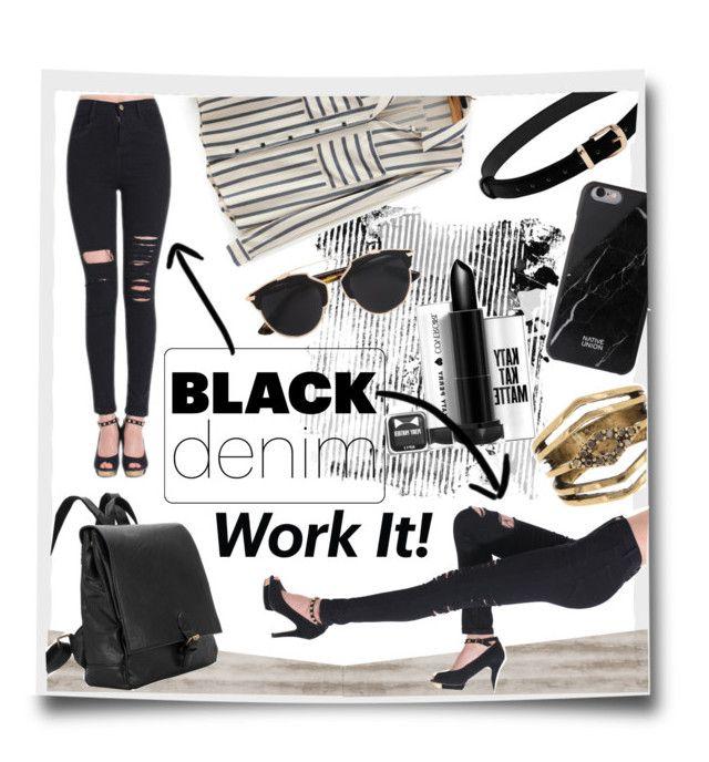 """Black denim (Чёрный деним)"" by kseniz13 ❤ liked on Polyvore featuring Native Union, Christian Dior and Steve Madden"