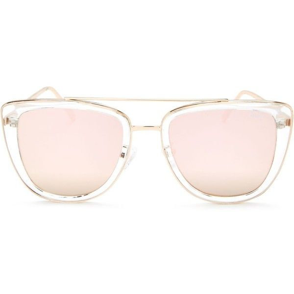 Quay French Kiss Mirrored Oversized Sunglasses, 54mm ($64) ❤ liked on Polyvore featuring accessories, eyewear, sunglasses, quay sunglasses, mirror glasses, oversized glasses, over sized sunglasses and mirror sunglasses