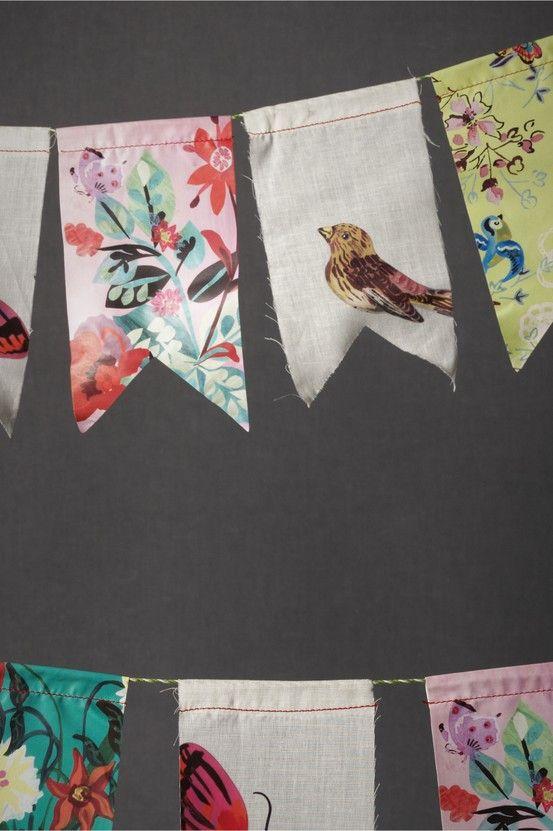 DIY idea - fabric scrap bunting. Cute idea to spruce up your home, a bridal shower or backyard wedding. #garland