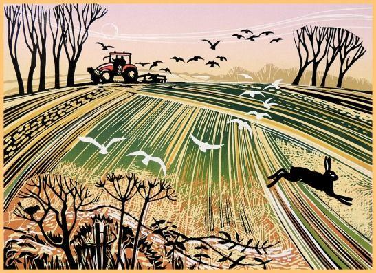 Print - Linocut - Breaking Ground by Rob Barnes
