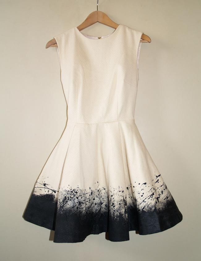 diy clothes reconstruction: I would be so nervous to do this one! But maybe you could also use a black dress, and bleach!