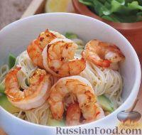 Фото к рецепту: Спагетти с креветками и авокадо