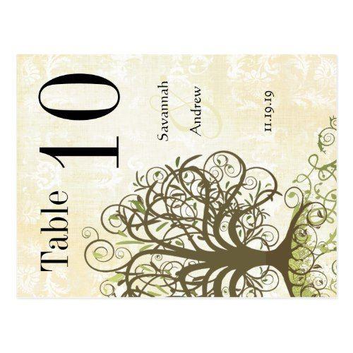 Moss Green & Brown Tree Swirl Table Number Postcard