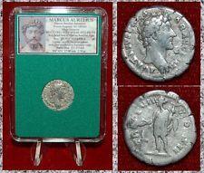 Roman Empire Coin MARCUS AURELIUS Genius Sacreficing on Reverse Silver Denarius
