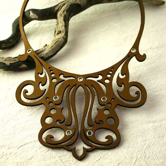 FILIGREE laser cut leather necklace in by TwilightandFiligree, $88.00