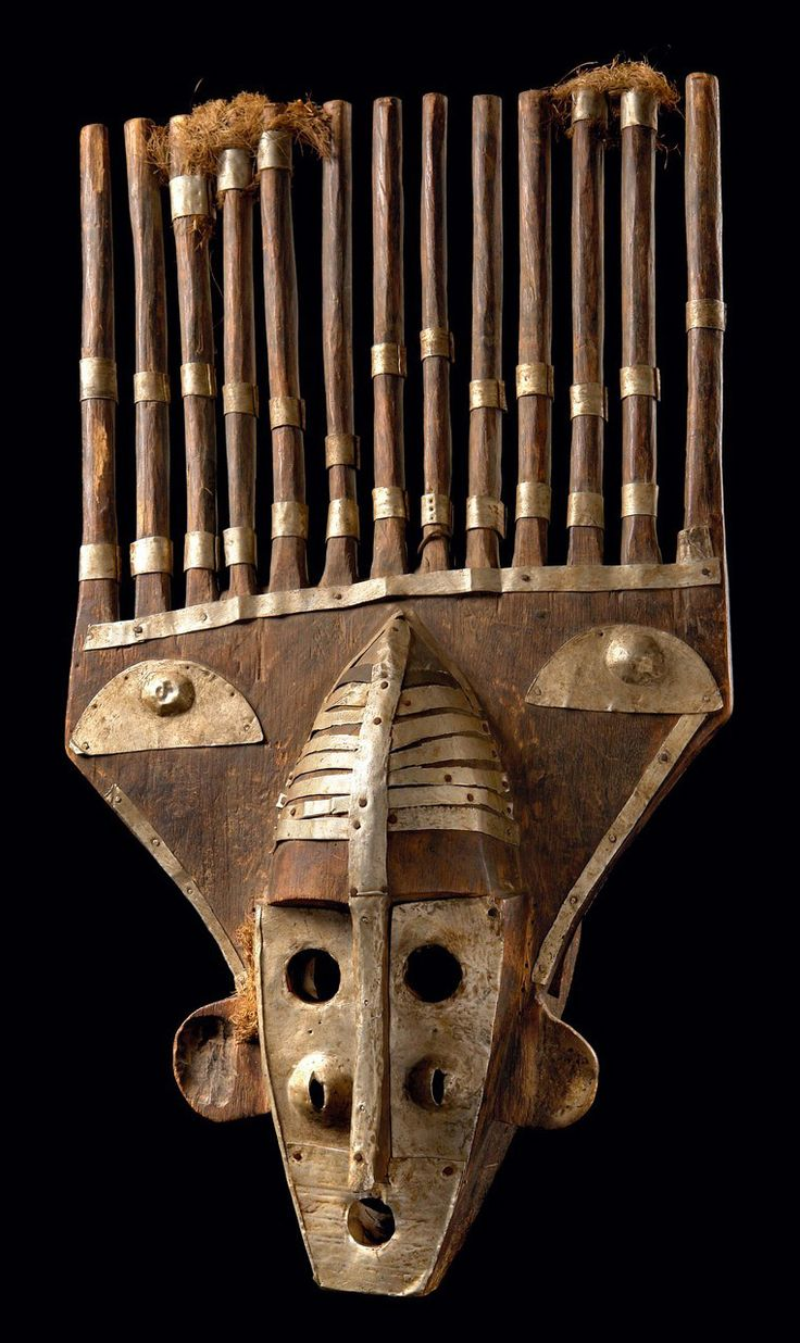 Africa   Mask from the Malinke people of Mali   Wood, metal sheet and plant fibers