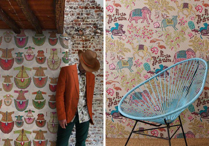 """Французский текстиль от Pierre Frey приехал в Израиль, вдохновленный коллекции культур, эпох, мест и исторических событий - цветные стены и повествования.  NIS 180 за квадратный метр """","""" Барнаби »(любезно RENBY)"""