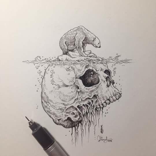 Dessin : Un ours polaire sur une banquise en forme de tête de mort representant une fin inneluctable pour son espèce by Kerby Rosanes