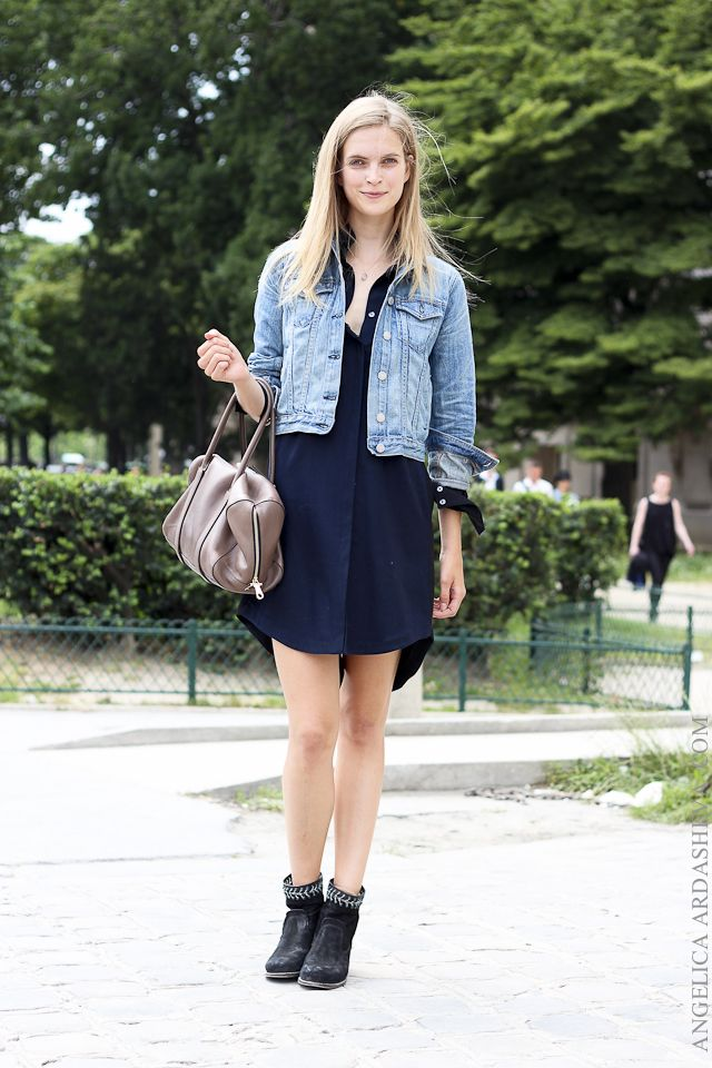 sale uk new list on feet shots of Dress With Blue Jean Jacket - JacketIn