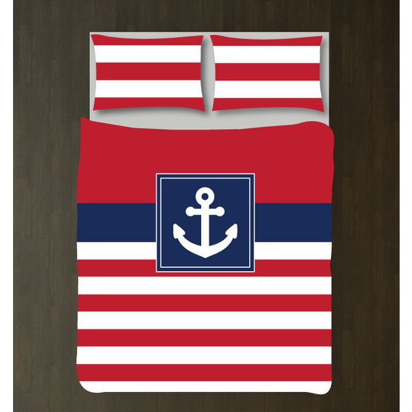 Nautical Duvet Cover w/shams-anchor-custom Bedding Set-Red-Navy... ($130) ❤ liked on Polyvore featuring home, bed & bath, bedding, duvet covers, grey, home & living, twin xl duvet, king duvet cover sets, twin bedding sets and queen duvet cover sets