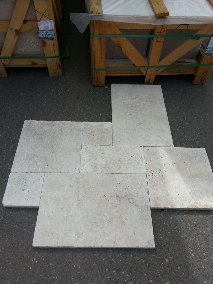 Ivory Classic French Pattern Travertine Pavers.