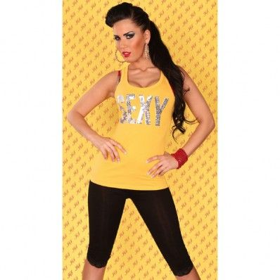 21,00 € ----- Débardeur jaune révélateur de fille sexy.  Vous êtes sexy ? Faites-le savoir en portant ce débardeur jaune révélateur de fille sexy en vente sur le site originalemode.