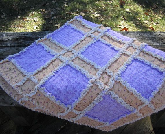 Patchwork Rag Quilt Purple Butterflies Wheel Chair by ISewTotes