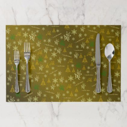 gold merry christmas text paper placemat - Xmas ChristmasEve Christmas Eve Christmas merry xmas family kids gifts holidays Santa