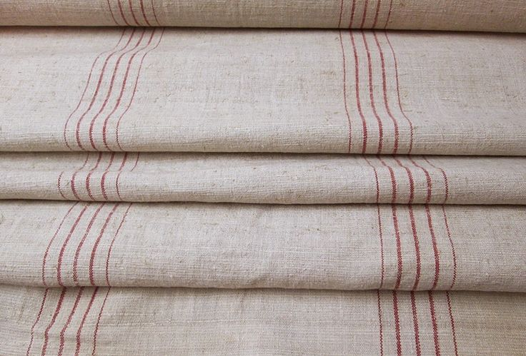 Handgewebtes Leinen mit roten Streifen um 1920/30 von Barosa auf DaWanda.com