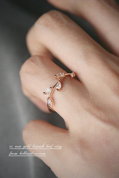 Crystal Olive Leaf Ring in Rose Gold White Gold by kellinsilver