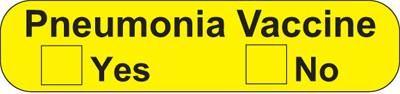 Health Care Logistics 18218 Pneumonia Vaccine Label - Fluorescent Yellow with Black text.