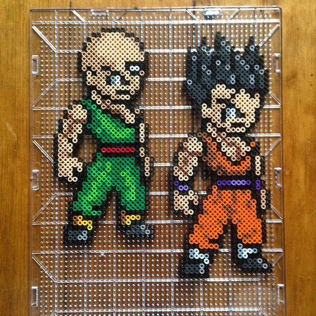 Yamcha & Tenshinhan - Dragon Ball perler beads by mastablasta3