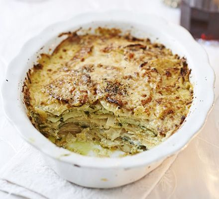 Root vegetable gratin   Layer thinly sliced potato, swede and parsnip then bake with a cream, garlic and Parmesan sauce for a decadent side dish