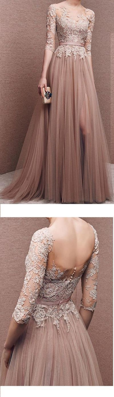 Charming Prom Dress,Tulle Prom Dress,Half-Sleeves Prom Dress,Appliques Evening Dress,148