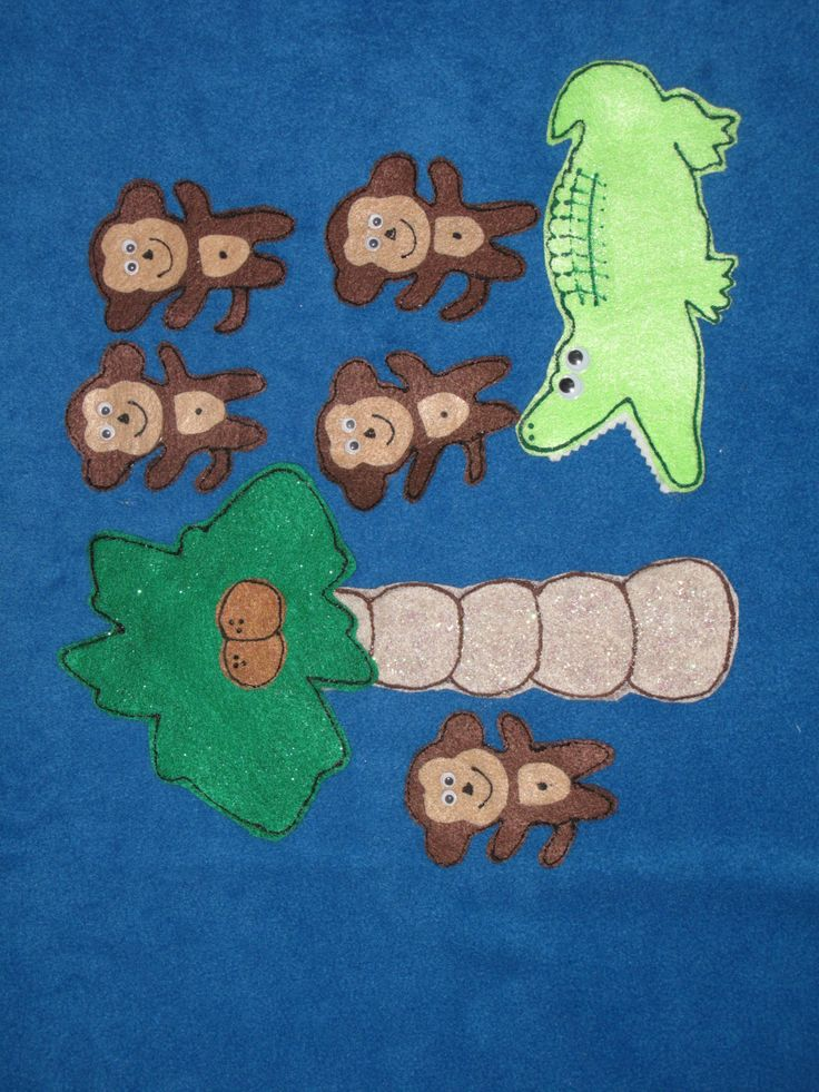 Five Little Monkeys (Teasing Mr Crocodile) by PlayfulPathFelts on Etsy