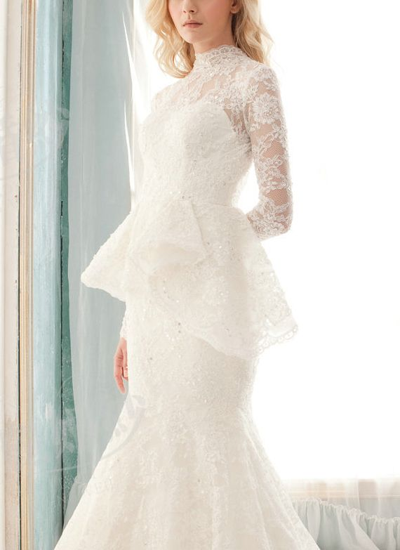 White lace peplum wedding dress
