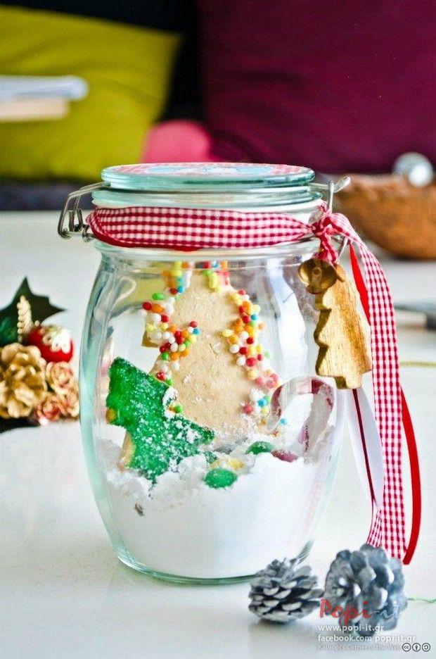 Photo by article : Μπισκότα βουτύρου σπιτικά & ιδέες για δώρο by www.popi it.gr,  tags : Χριστουγεννιάτικο δώρο Χριστουγεννιάτικα μπισκότα Χριστούγεννα συσκευασίες δώρου μπισκότα σε βάζο Μπισκότα βουτύρου Μπισκότα διακόσμηση μπισκότων jar handmade cookies on jar christmas gift christmas