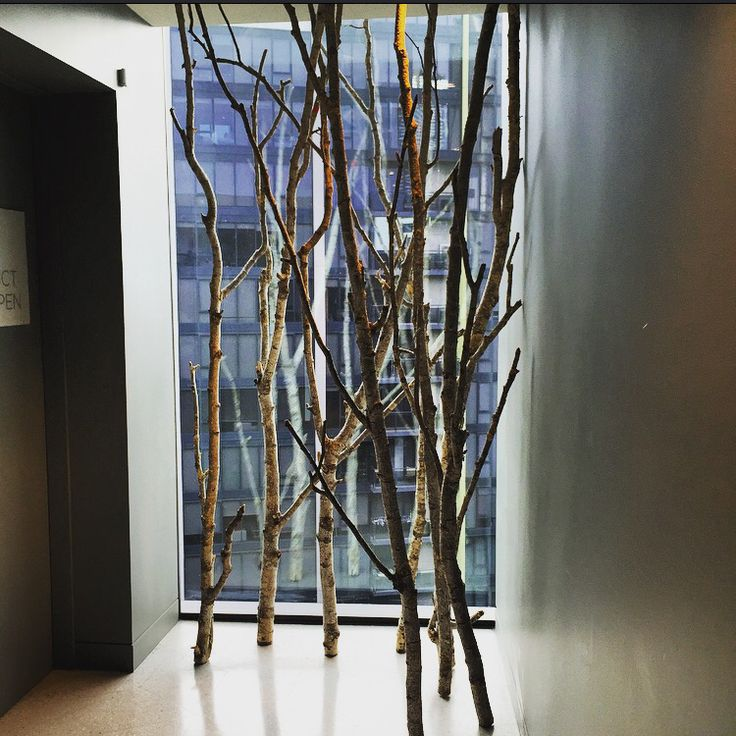 Tree wood sculpture on the opposite side of the entrance of the bar. Made by wood. For decoration.