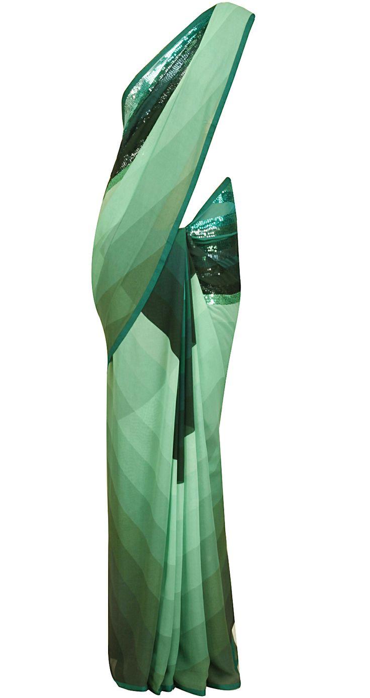 Aqua and sea green shaded and embellished sari by SATYAPAUL. Shop at https://www.perniaspopupshop.com/whats-new/satyapaul-6