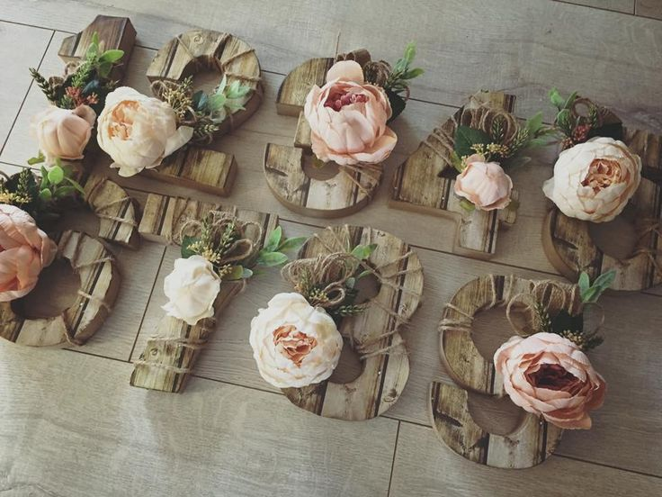 Cute handmade rustic table numbers with Peonies