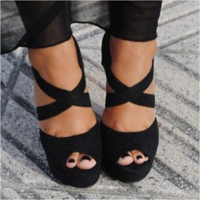 Fashion, Criss Crosses, Black Nails, Black Shoes, Black Heels, Crisscross, Sandals, Black High Heels, Everyday Shoes