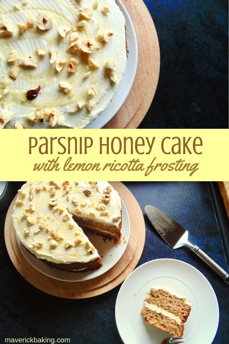 Parsnip Honey Cake with Lemon Ricotta Frosting; this unusual cake is everything a carrot cake wants to be. It's sweet, moist, lightly spiced and probably the best way to eat a vegetable or two!