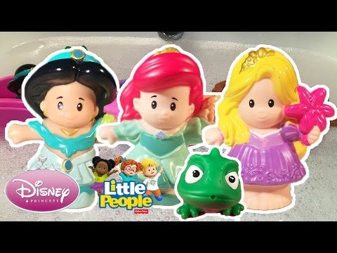 LITTLE PEOPLE Floating Princess Boats Bath Time Fun For Kids With Jasmine Rapunzel Ariel - YouTube