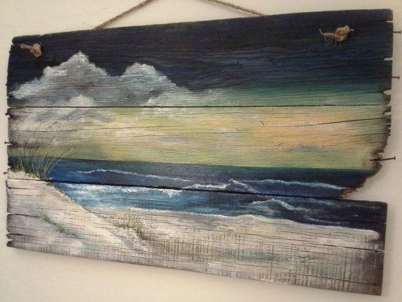 Original+ocean+seascape+painting+on+Reclaimed+Wood+Shabby+Beach+Cottage+Primitive+Folk+Art+wallhanging+wall+decor