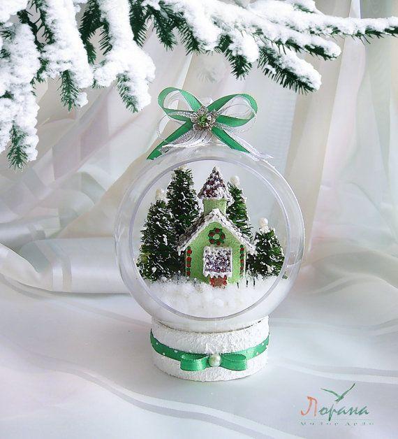 """Новогодние интерьерные шары """" Рождественские домики"""""""