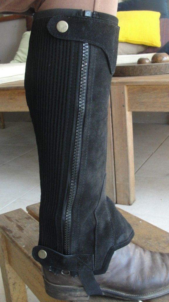 Equestrian Horse Riding Leather Chaps Gaiters Getting