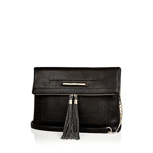 Black large fold over handbag - schoudertassen - tassen/portemonnees - dames