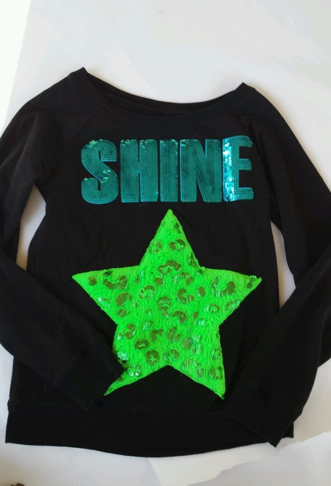 "EUC Justice ""Shine"" Sequin Shirt Fuzzy Star Girls 14 Black Blue Green Long sleev #Justice"