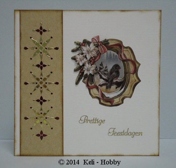 "Vogel met dots - Linnen karton 06 champagne en 16 Honing  Hobbydotspatroon uit Hobbydols 130 ""Hobbydots Kerstpatronen""  Rode dots met Permanent Markers ( Sticker Stiften)  Bruin iets donderder gemaakt  Distress Inkt Vintage Photo  Knivpel Amy Design CD10393  Ranger Stickles Glitter Glue (lijm) Frosted Lace          Sticker CD3014 Prettige Feestdagen Platinum Goud"