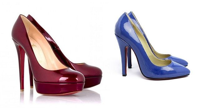 Leather burgundy and blue shoes